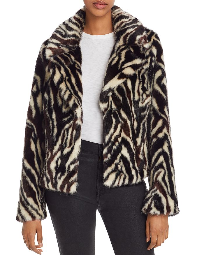 7 For All Mankind Faux-fur Zebra-print Jacket