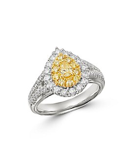 Bloomingdale's - Pear-Shaped Yellow & White Diamond Ring in 18K Yellow & White Gold - 100% Exclusive