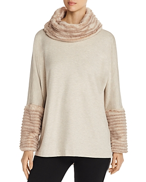 Capote Faux-Fur Trimmed Cowl Neck Sweater