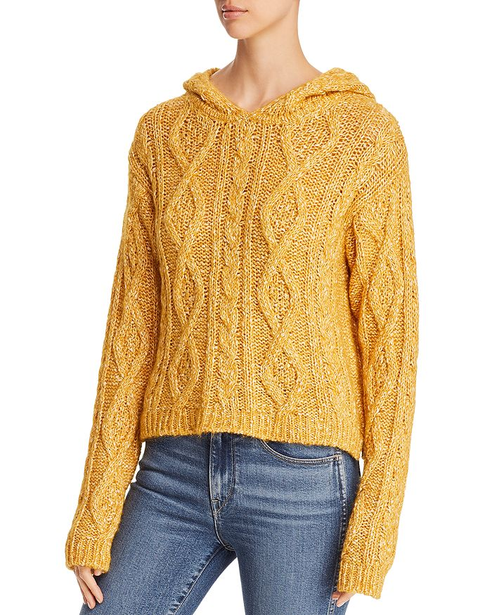 Majestic Filatures - Hooded Mélange Cable-Knit Sweater