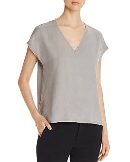 Go by Go Silk - Raw-Edge V-Neck Tee