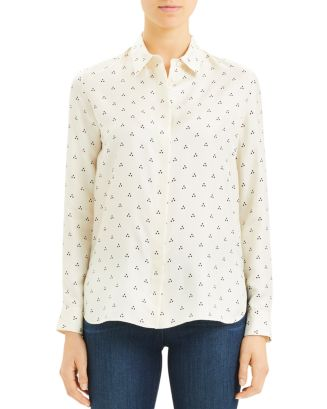 straight-dot-print-shirt by theory