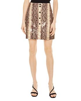 Sandro - Kimberlay Snakeskin-Pattern Leather Mini Skirt