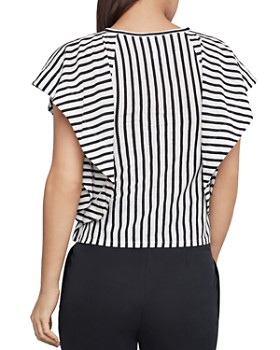 BCBGMAXAZRIA - Striped Tie-Front Cropped Top