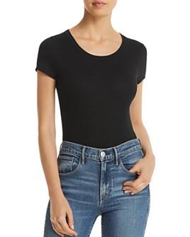 AQUA - Rib-Knit Short-Sleeve Bodysuit - 100% Exclusive