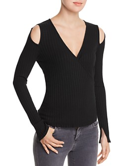 Red Haute - Ribbed Knit Cold-Shoulder Top
