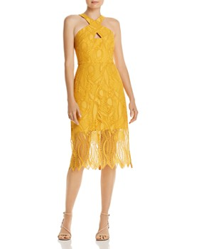 BCBGMAXAZRIA - Lace Illusion-Hem Midi Dress