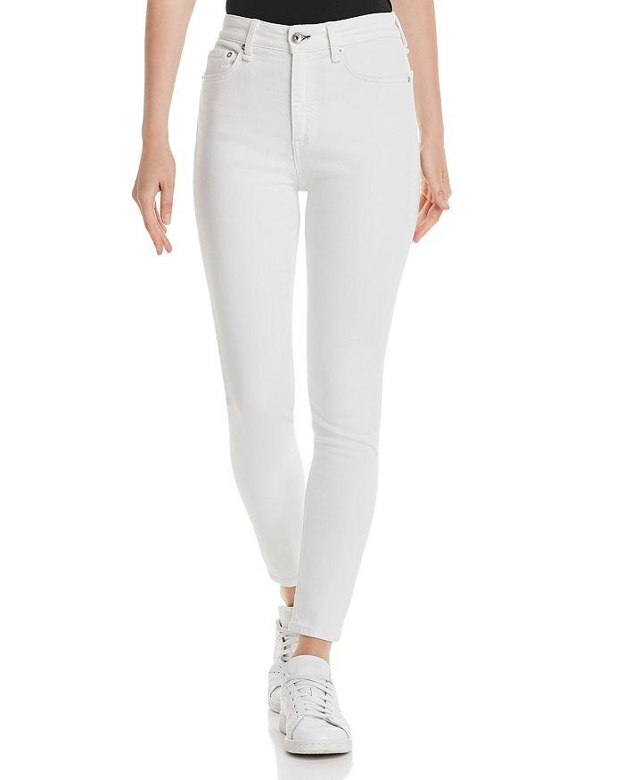rag & bone - High-Rise Ankle Skinny Jeans in White