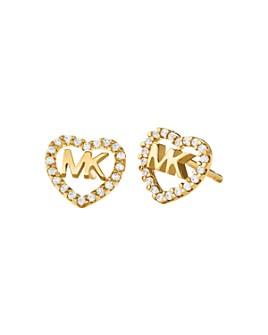 Michael Kors - Pavé Logo Heart Stud Earrings in 14K Gold-Plated Sterling Silver, 14k Rose Gold-Plated Sterling Silver or Sterling Silver