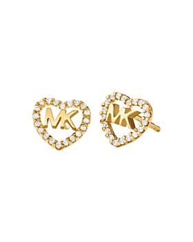 3efef9d68516ef Michael Kors - Pavé Logo Heart Stud Earrings in 14K Gold-Plated Sterling  Silver, ...