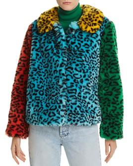 Alice and Olivia - Jerri Color-Block Leopard-Print Faux Fur Coat