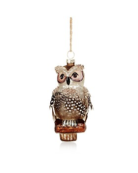 Bloomingdale's - Feathered Owl Glass Ornament - 100% Exclusive