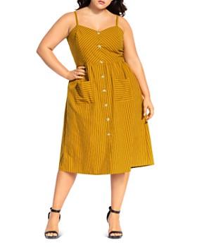 City Chic Plus - Stripe Touch Button-Front Dress