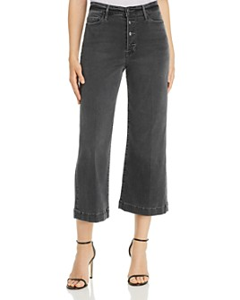 FRAME - Ali Wide Crop Exposed Buttons Jeans in Noise - 100% Exclusive