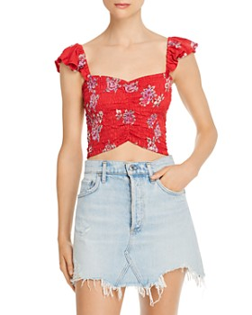 Tiare Hawaii - Hollie Smocked Floral Cropped Top