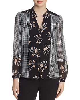 Calvin Klein - Mixed-Print Button-Front Blouse