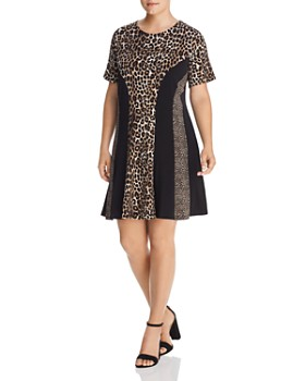MICHAEL Michael Kors Plus - Paneled Leopard-Print Fit-and-Flare Dress