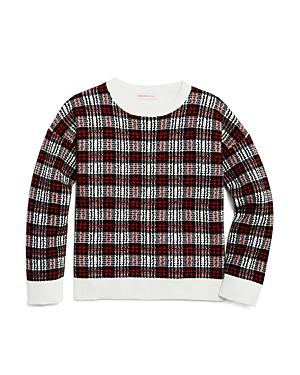 Design History Girls' Mixed-Media Plaid Sweater - Big Kid