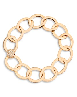 Pomellato - 18K Rose Gold Brera Chain Link Bracelet with Brown Diamond Clasp