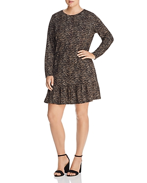 Michael Michael Kors Plus Long-Sleeve Animal-Print Dress