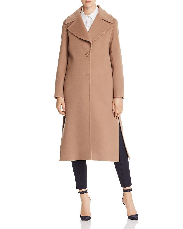 Cinzia Rocca Icons Wool & Cashmere Notched Collar Coat In Camel