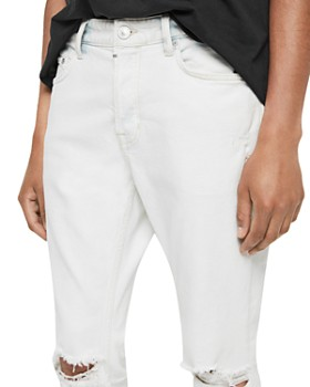ALLSAINTS - Rex Damaged Skinny Fit Jeans in Bleached Indigo Blue