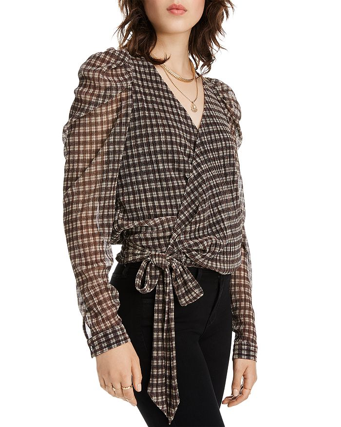 LINI - Grace Puff-Sleeve Plaid Wrap Top - 100% Exclusive