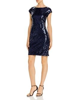 Eliza J - Chevron-Sequined Cocktail Dress
