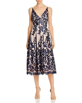 Eliza J - Embroidered Lace Fit-and-Flare Dress