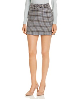 kate spade new york - Belted Houndstooth Mini Skirt