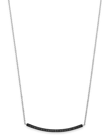 Bloomingdale's - Black Diamond Bar Necklace in 14K White Gold, 0.25 ct. t.w. - 100% Exclusive