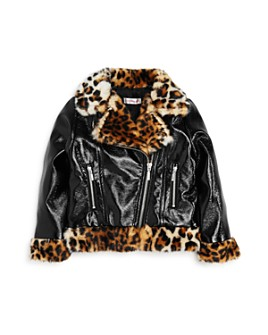 Design History - Girls' Leopard-Trim Moto Jacket - Little Kid