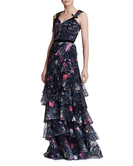 MARCHESA NOTTE - Tiered Floral-Print Tulle Gown