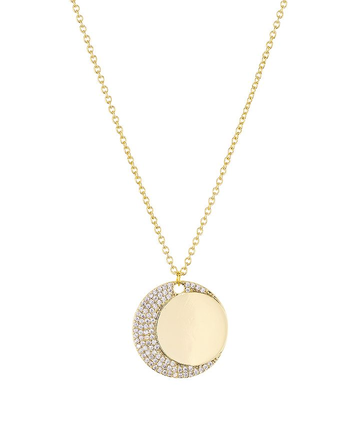 Jules Smith Pave Crescent-Moon Disc Pendant Necklace, 16 In Gold