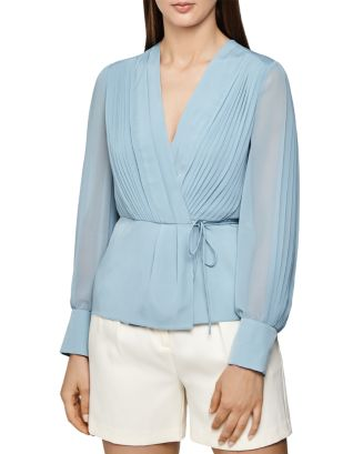 Nola Pleated Wrap Blouse by Reiss