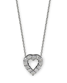 Roberto Coin - 18K White Gold Baby Heart Pendant Necklace with Diamonds, 16""