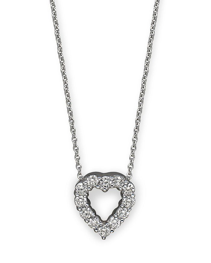 """Roberto Coin - 18K White Gold Baby Heart Pendant Necklace with Diamonds, 16"""""""
