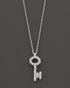 "Roberto Coin 18K White Gold/Diamond Key Necklace, 16"" - Bloomingdale's_0"