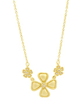 Freida Rothman - Harmony Triple Flower Pendant Necklace in 14k Gold-Plated Sterling Silver, 16""