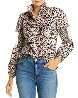 Notes du Nord - Maxine Smocked Leopard-Print Shirt