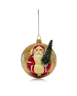 Vaillancourt - Santa Gold Glass Ball Ornament