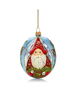 Vaillancourt - Santa Pearlized Glass Ball Ornament