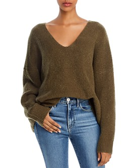 FRENCH CONNECTION - Flossy Oversized Ribbed V-Neck Sweater