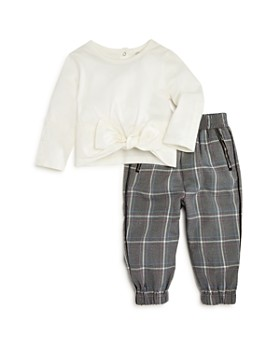 Habitual Kids - Girls' Bow Top & Plaid Pants Set - Little Kid