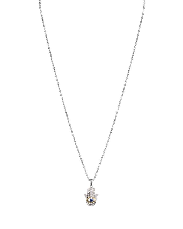 """Bloomingdale's - Diamond Hamsa Pendant Necklace in Sterling Silver & 14K Gold-Plated Sterling Silver, 0.21 ct. t.w., 17"""" - 100% Exclusive"""