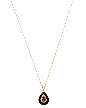 Bloomingdale's RUBY, BLACK ONYX & DIAMOND PENDANT NECKLACE IN 14K YELLOW GOLD, 18 - 100% EXCLUSIVE