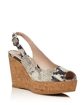 Stuart Weitzman - Women's Jean Peep Toe Platform Wedge Sandals