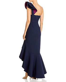 BCBGMAXAZRIA - Color-Blocked Ruffled One-Shoulder Gown