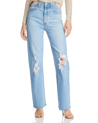 Ribcage Ripped Straight-Leg Jeans