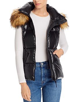 AQUA - Faux Fur-Trim Hooded Puffer Vest - 100% Exclusive